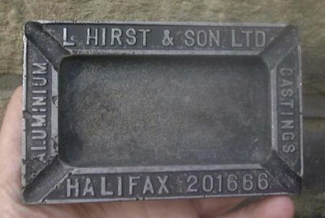 An ashtray advertising Hirst's aluminium castings